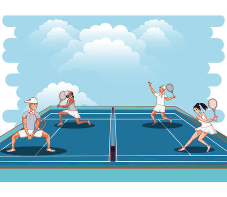 paar spelers tennis tekens vector illustratie ontwerp