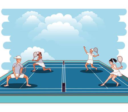 Paar Spieler Tennis Charaktere Vektor-Illustration Design