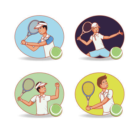 men players tennis characters vector illustration design