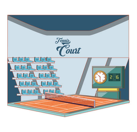 court of tennis sport with stage vector illustration design