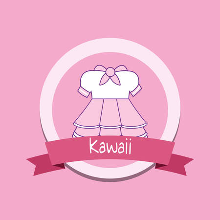 cute girl clothes kawaii style with ribbon vector illustration design