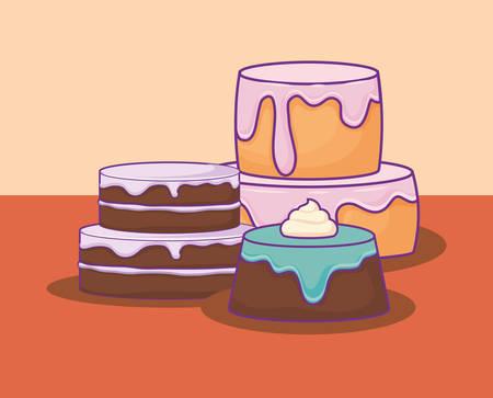 sweet cake birthday kawaii style vector illustration design