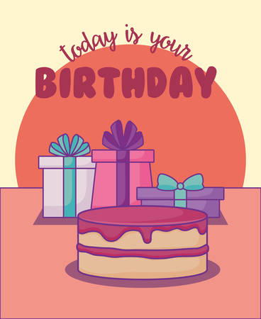 sweet cake birthday and gifts kawaii style vector illustration design