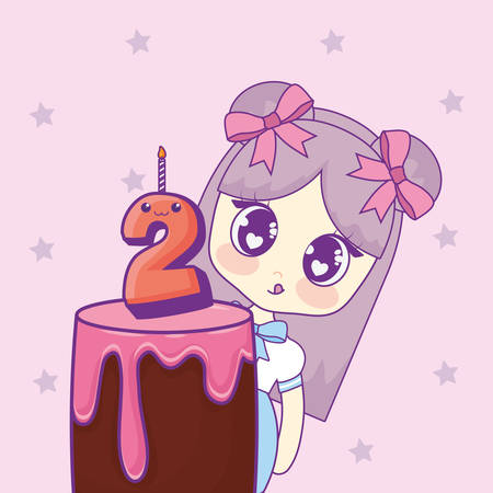 cute kawaii girl with cake birthday card vector illustration design