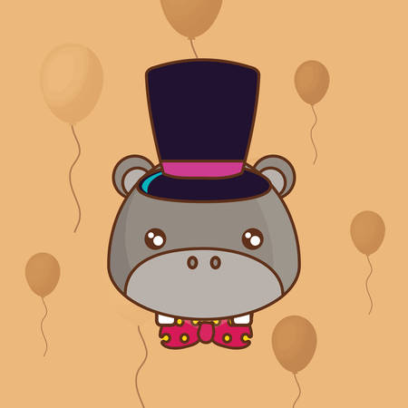 cute hippopotamus with top hat over orange background, colorful line design. vector illustration Ilustração