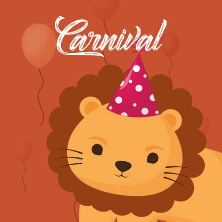carnival design with cute lion with party hat over orange background, colorful design. vector illustration