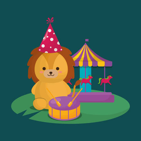 carnival circus design wtih cute lion with carousel over green background, colorful design. vector illustration
