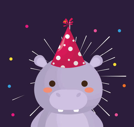 cute hipoppotamus with party hat over purple background, colorful design. vector illustration