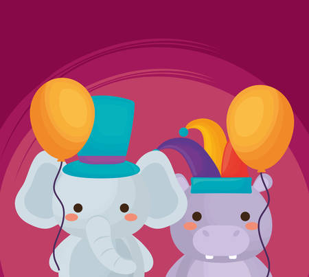 Carnival circus design with cute elephant and hipoppotamus with balloons over purple background, colorful design. vector illustration