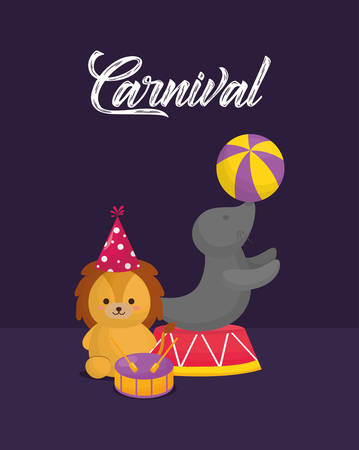 Carnival circus design with cute lion and seal over purple background, colorful design. vector illustration