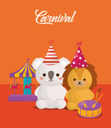 Carnival circus design with cute koala and lion with related icons over orange background, colorful design. vector illustration