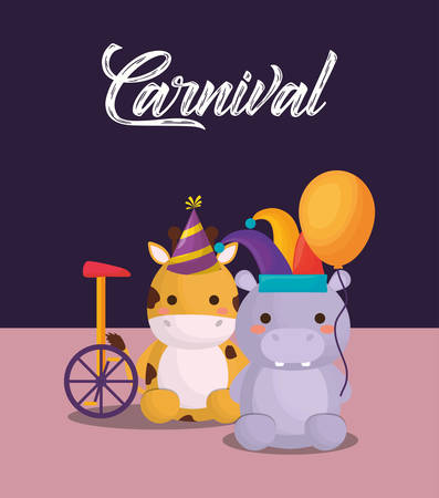 carnival circus with cute giraffe and hippopotamus with monocycle over purple background, colorful design. vector illustration Ilustração