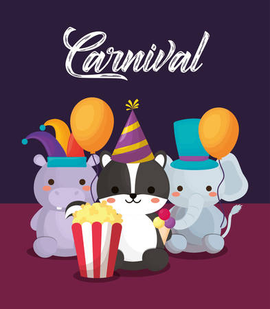 Carnival circus design with cute animals with pop corn and balloons over purple background, colorful design. vector illustration Ilustração