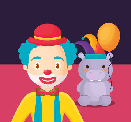 Carnival circus design with clown and hipoppotamus over blue background, colorful design. vector illustration