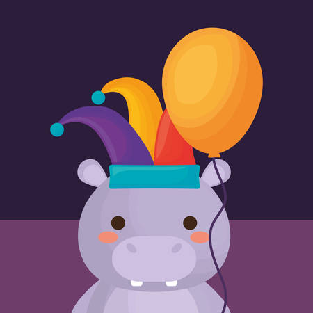 carnival circus design with hippopotamus with jester hat over purple background, colorful design. vector illustration
