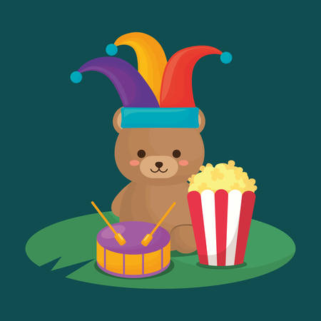 cute bear with jester hat and pop corn over green background, colorful design. vector illustration Illustration