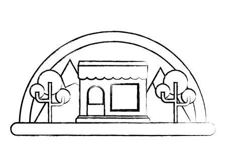 sketch of shop and trees over landscape and white background, vector illustration Vettoriali