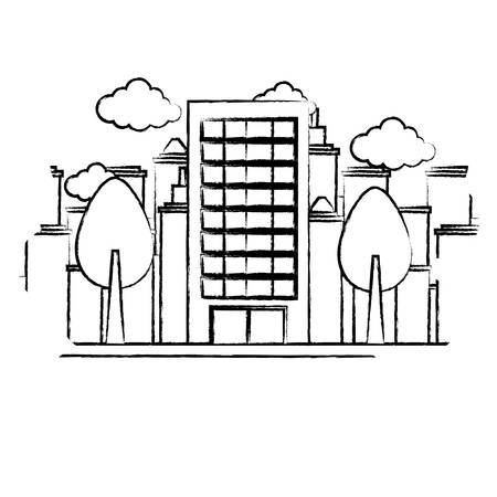 sketch of city building and trees over landscape and white background, vector illustration Illustration