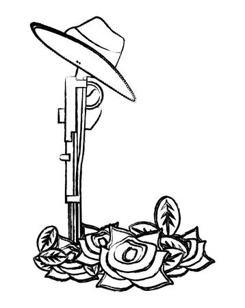 Anzac day design with poppy flowers and weapon over white background, vector illustration