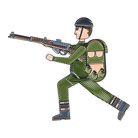 Anzac soldier with the equipment and weapon over white background, vector illustration Illustration