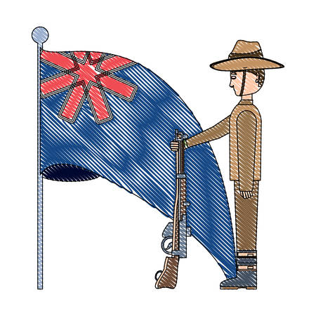 Anzac day design with australian flag and soldier standing guard over white background, vector illustration Illustration