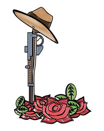 Conception de jour Anzac avec fleurs de pavot et arme sur fond blanc, illustration vectorielle