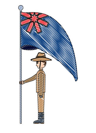 Anzac day design with australian flag and soldier standing guard over white background, vector illustration Vettoriali