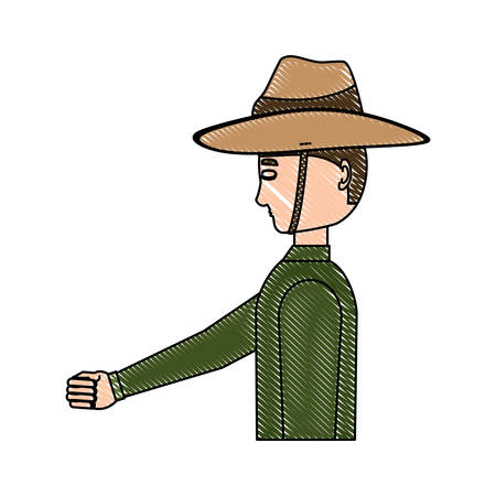 Anzac soldier standing over white background, vector illustration