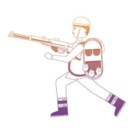 Soldat Anzac avec l'équipement et l'arme sur fond blanc, illustration vectorielle