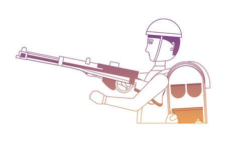 Conception de jour Anzac avec soldat militaire avec l'équipement et l'arme sur fond blanc, design coloré. illustration vectorielle
