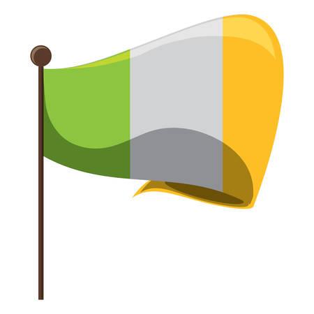 ireland flag icon over white background, vector illustration Illustration