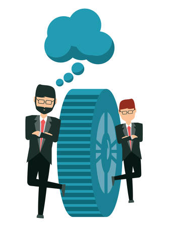 cartoon businessmen with speech bubble and next to a gear wheel over white background, vector illustration Illustration