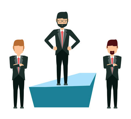 cartoon businessmen standing over white background, vector illustration