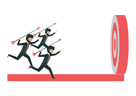 businessman shooting arrows to the target over white background, vector illustration Ilustração