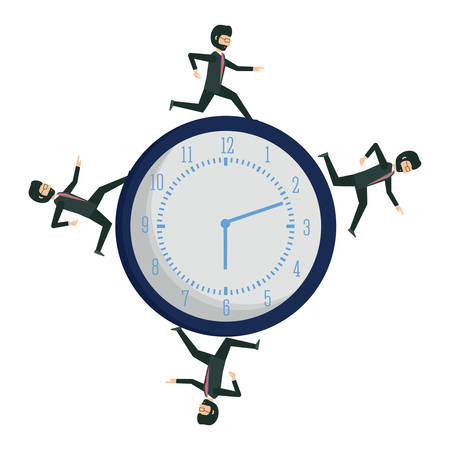 businessmen running on a clock over white background, vector illustration