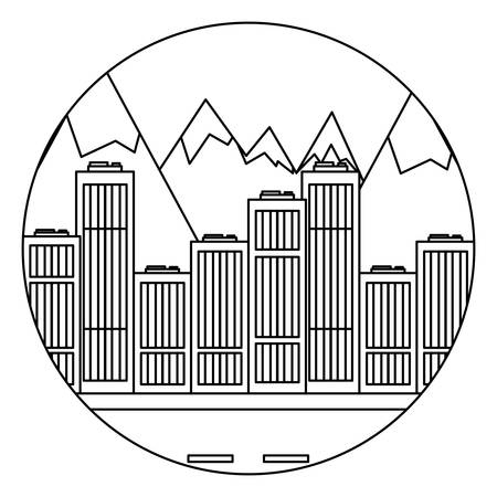 city buildings over mountains landscape in circle shape over white background, vector illustration