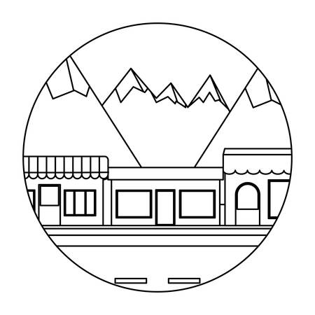 street with stores and buildings over mountains landscape in circular shape over white background, vector illustration