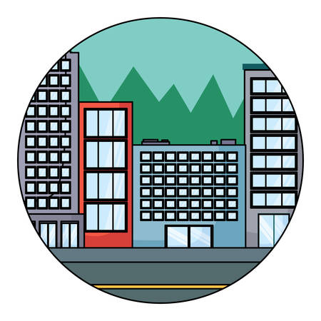 city buildings in circular shape over white background, colorful design. vector illustration