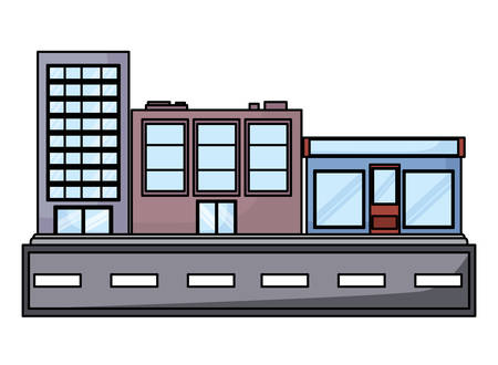 street with city buildings over white background, vector illustration