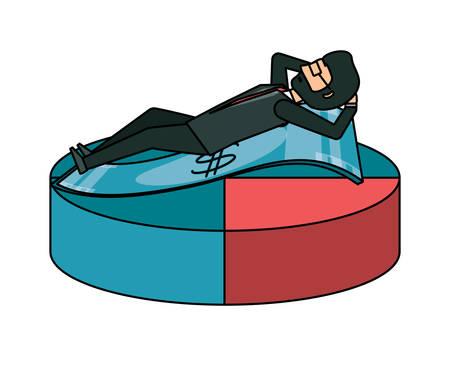 cartoon businessman lying on pie chart over white background, vector illustration Illustration