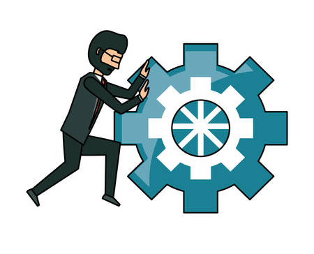 businessman pushing a gear wheel over white background, vector illustration