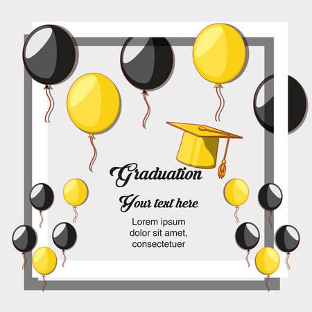 graduation card with hat icon vector illustration design