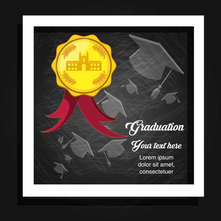 graduation card with wax seal vector illustration design