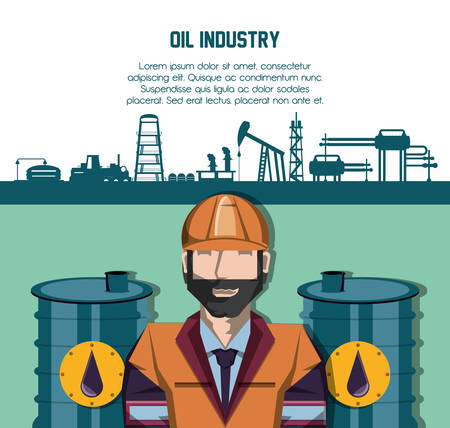 oil industry with worker and factory icons vector illustration design Stock Illustratie