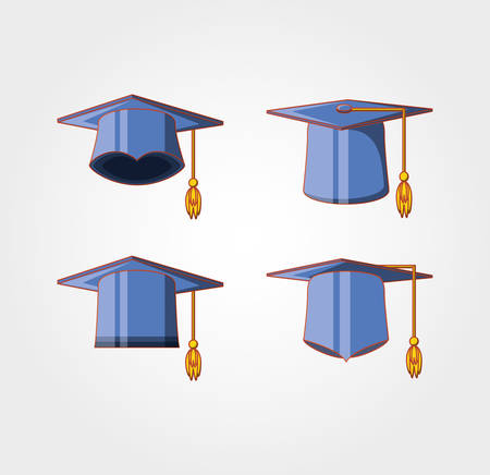 graduation card with hats icon vector illustration design