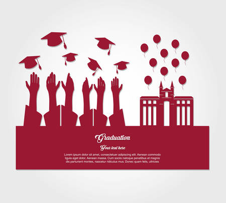 graduate students silhouette characters vector illustration design