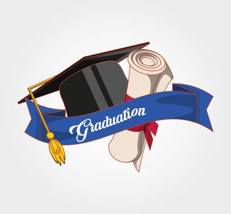 dyplom ukończenia szkoły z kapeluszem i dyplomem projektowania ilustracji wektorowych