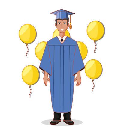 graduate man avatar character vector illustration design