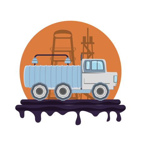 oil industry with transport truck vector illustration design Vettoriali