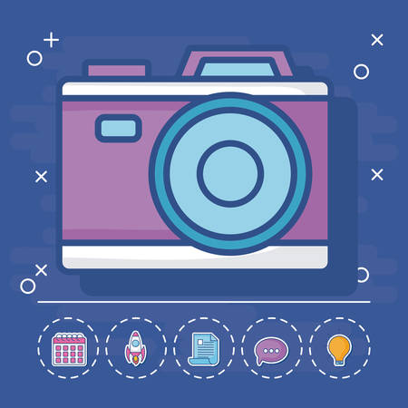 camera with digital marketing related icons around over blue background, vector illustration